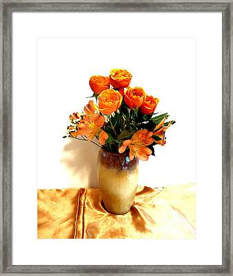Orange Rose Bouquet Framed Print by Marsha Heiken