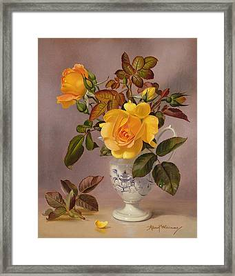 Orange Roses In A Blue And White Jug Framed Print by Albert Williams