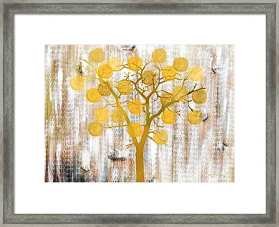 Orange Rustic Tree Art Framed Print
