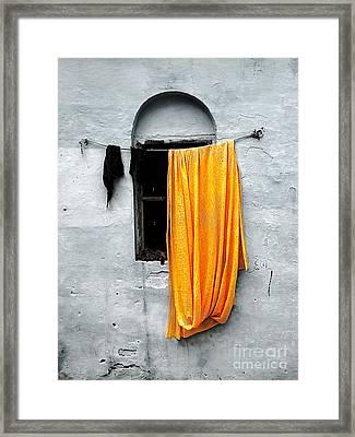 Orange Sari Framed Print