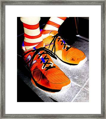 Orange Shoes And Socks Framed Print by Randall Weidner
