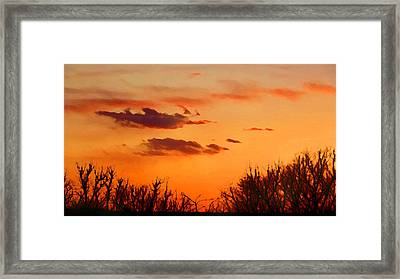Framed Print featuring the digital art Orange Sky At Night by Shelli Fitzpatrick