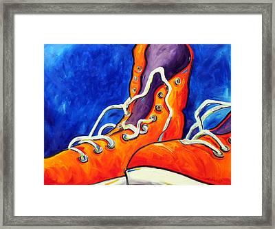Orange Sneakers Framed Print