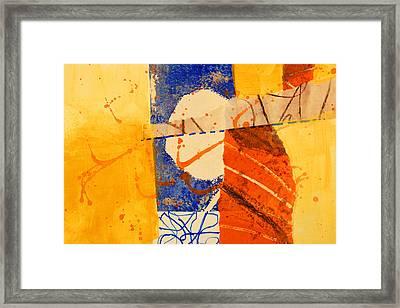 Orange Splatter 4 Framed Print by Nancy Merkle