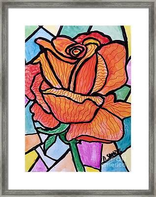 Orange Stained Glass Rose Framed Print