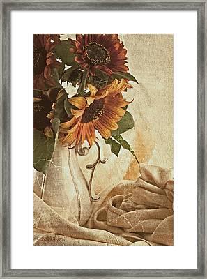 Orange Sunflowers - Found In The Attic Framed Print