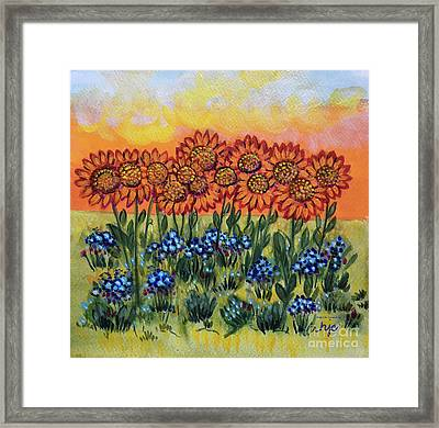 Orange Sunset Flowers Framed Print