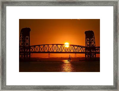 Orange Sunset Brooklyn Bridges Sailboat Framed Print