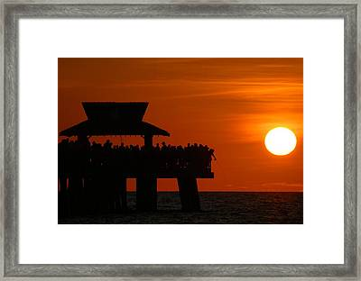 Orange Sunset In Naples Framed Print