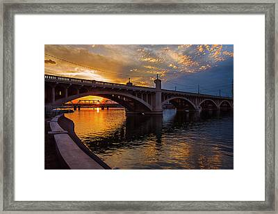 Framed Print featuring the photograph Orange Sunset Over Tempe Town Lake by Dave Dilli