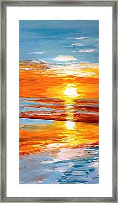 Orange Sunset Over The Ocean Framed Print