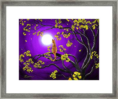 Orange Tabby Cat In Golden Flowers Framed Print