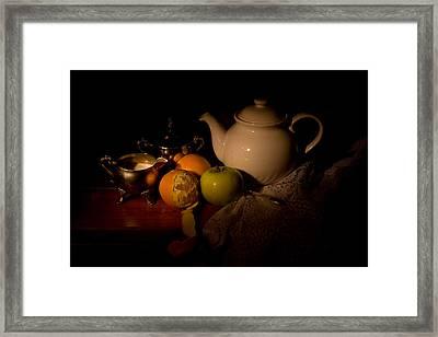 Orange Tea Framed Print by Levin Rodriguez