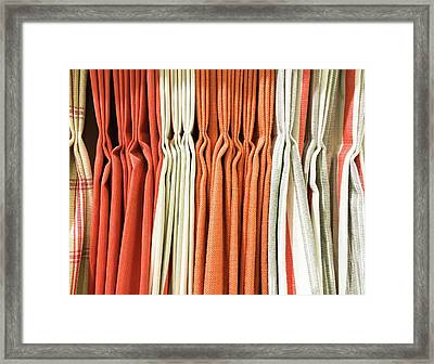 Orange Textiles Framed Print by Tom Gowanlock