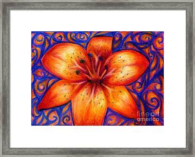 Orange Tiger Lily Drawing Framed Print