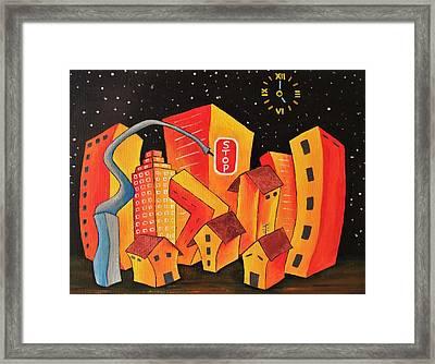 Orange Town Framed Print