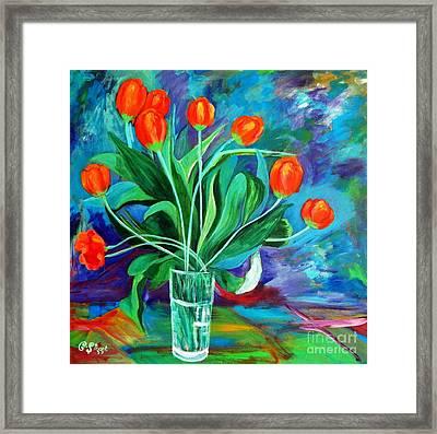Orange Tulips In Recess Framed Print by Caroline Street