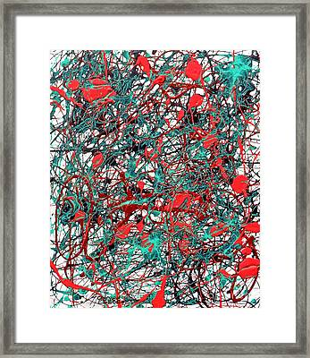 Framed Print featuring the painting Orange Turquoise Drip Abstract by Genevieve Esson