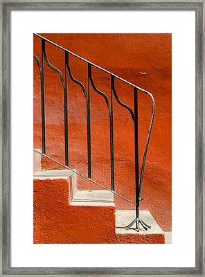 Orange Wall And Steps. Framed Print