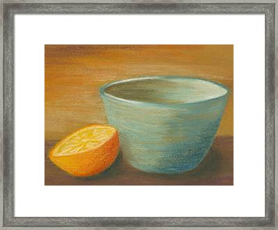 Orange With Blue Ramekin Framed Print by Cheryl Albert