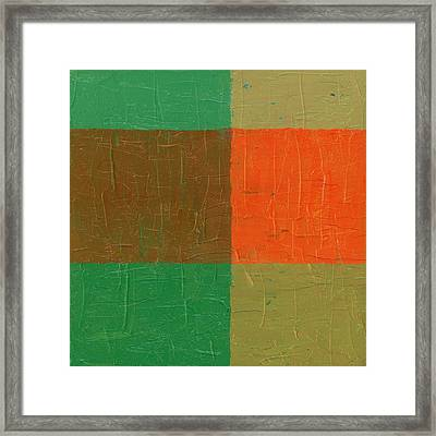Orange With Brown And Teal Framed Print