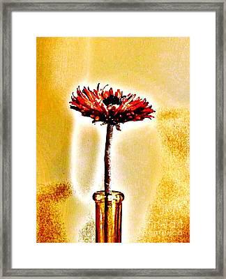 Orange Wooden Flower Framed Print by Marsha Heiken