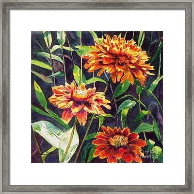 Framed Print featuring the painting Orange Zinnias by LeAnne Sowa