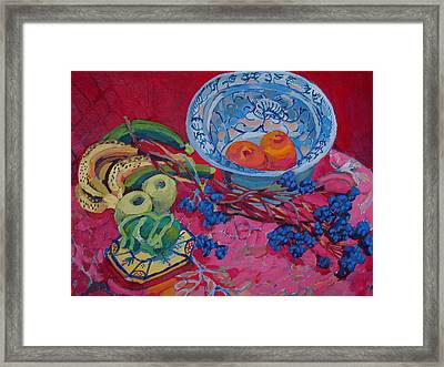 Oranges And Chinese Bowl Framed Print