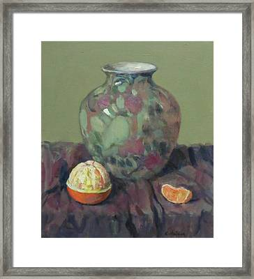 Oranges And Floral Porcelain Vase Framed Print