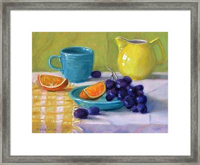 Oranges And Grapes Framed Print by Bonnie Mason