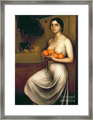 Oranges And Lemons Framed Print by Julio Romero de Torres