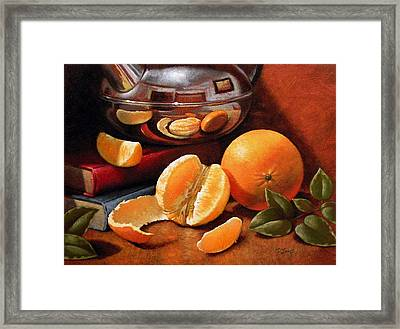 Oranges And Teapot Framed Print by Timothy Jones