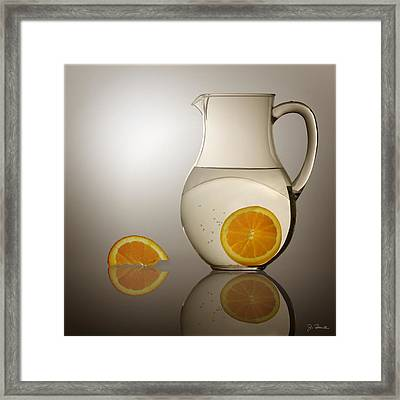Framed Print featuring the photograph Oranges And Water Pitcher by Joe Bonita