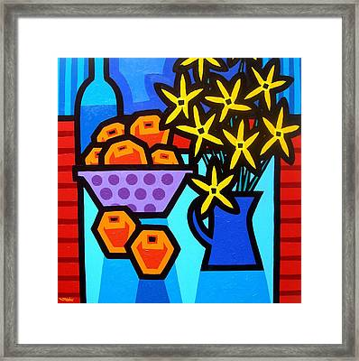 Oranges Flowers And Bottle Framed Print
