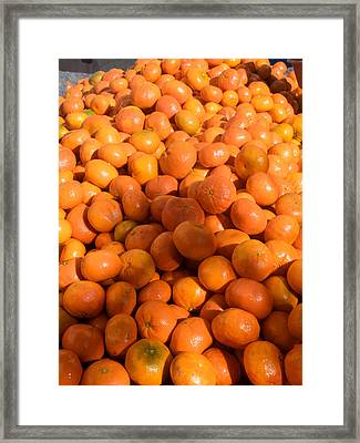 Oranges For Sale In Market, Essaouira Framed Print by Panoramic Images