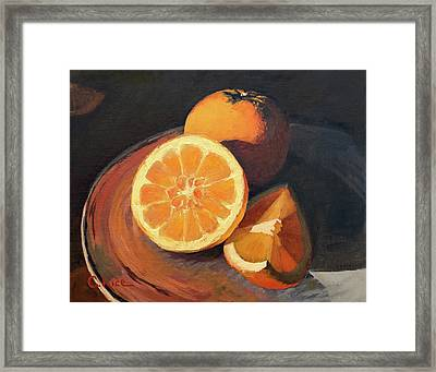 Oranges In Late Afternoon Sunlight Framed Print