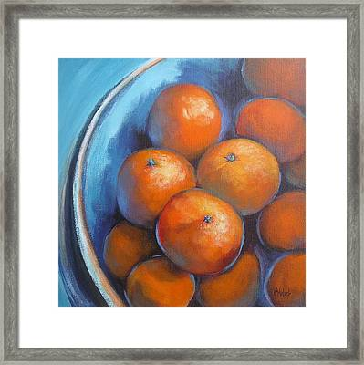 Framed Print featuring the painting Oranges On Blue Acrylic Original Painting by Chris Hobel