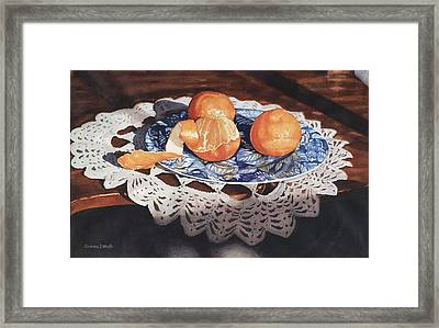 Oranges On Blue Plate Framed Print