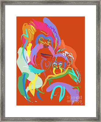 Orangutan Mom And Baby Framed Print