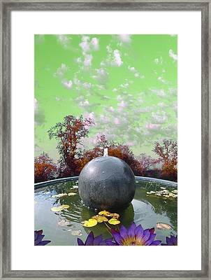 Framed Print featuring the photograph Orb Fountain by John Norman Stewart