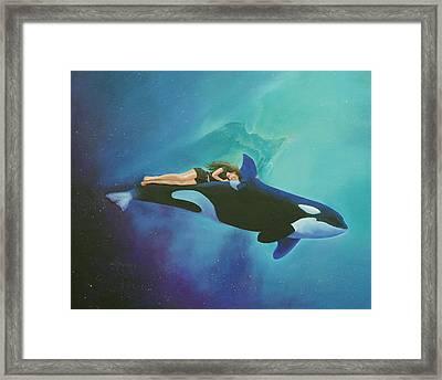 Orca Rider Framed Print by Cecilia Brendel