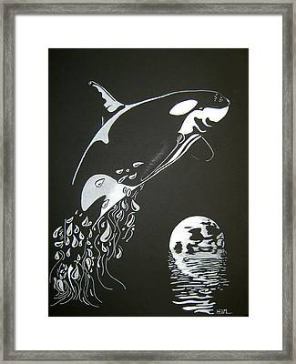 Framed Print featuring the drawing Orca Sillhouette by Mayhem Mediums