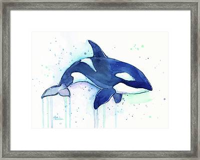 Orca Whale Watercolor Killer Whale Facing Right Framed Print by Olga Shvartsur