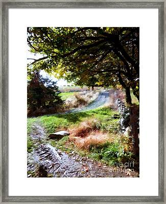 Framed Print featuring the painting Orchard Country Roads by Janine Riley