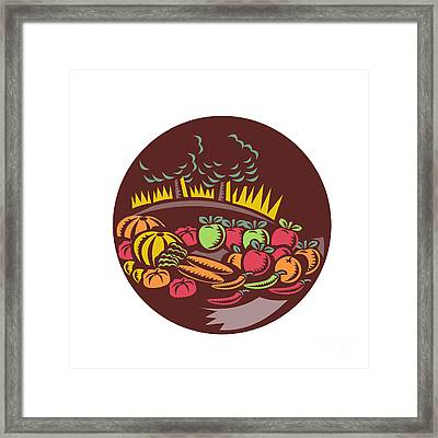 Orchard Crop Harvest Circle Woodcut Framed Print