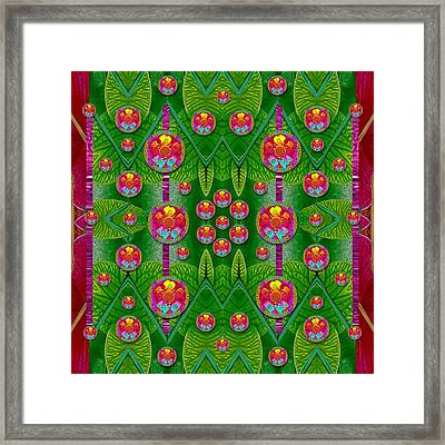 Orchid Forest Filled Of Big Flowers And Chevron Framed Print by Pepita Selles
