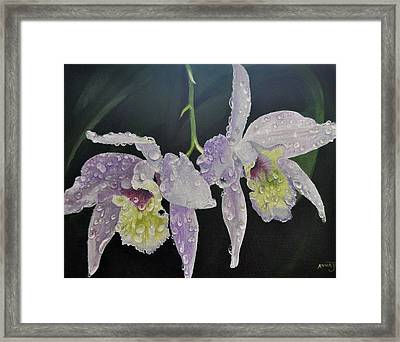 Framed Print featuring the painting Orchid Jewels by AnnaJo Vahle