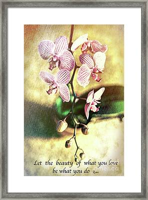 Orchid Love Framed Print by Chellie Bock
