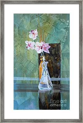 Orchids And A Rose Framed Print