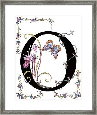 Orchids And Common Opal Butterfly Framed Print by Stanza Widen